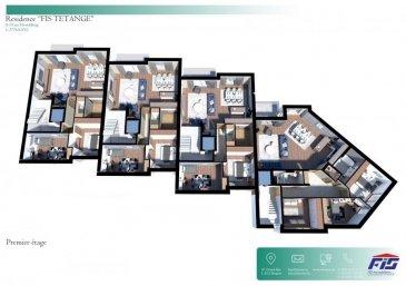 L'agence FIS Immobilière vous présente l'appartement B1.   L'appartement B1 a une surface de + ou - 95 m2 situé au rez-de-chaussée avec une terrasse de + ou - 6.55 m2 et un jardin privatif de + ou - 100 m2.   L'appartement dispose de :  - 2 chambres à coucher de 15.02 m2 et 10.93 m2, - 1 salle de bain, - 1 dressing, - 1 WC séparé, - 1 cave privative.   Vous pourrez acquérir un emplacement intérieur au prix de 30.000,00 € ou un emplacement extérieur au prix de 15.000,00 €.   Le projet comprend 6 nouvelles résidences à toitures plates de style contemporain dans une rue calme et sans issue dans la ville de Tétange.   Les 6 résidences regroupent 16 logements en tout.   4 Résidences ont chacune 2 appartements et 1 penthouse sur deux niveaux par bâtiment, le sous-sol est commun aux 4 bâtiments. Les 4 résidences comprennent 24 emplacements intérieurs et 2 emplacements extérieurs.   Les 2 autres bâtiments ont 2 duplex chacun avec un sous-sol séparé pour les deux bâtiments qui disposent de 4 caves et de 4 emplacements intérieurs doubles.   Les 4 duplex auront des entrées complètement séparés comme dans une maison.   Chaque appartement dispose d'une cave privé.   Les appartements sont spacieux et lumineux disposant de 2 à 4 chambres à coucher avec une voir 2 terrasses par appartements.   Les appartements situés au rez-de-chaussée dispose d'un jardin privé.   Chaque détail a été ici pensé afin de proposer aux futurs occupants un confort de vie optimal.   Des équipements et matériaux haut de gamme sélectionnés avec le plus grand soin, des espaces extérieurs comme des terrasses et jardins privés pour les appartements au rez-de-chaussée et des terrasses avec une vue dégagée pour les biens aux étages supérieurs.   Êtes-vous intéressé ?  Toute l'équipe de FIS Immo. est à votre disposition pour répondre à toutes vos questions au +352 621 278 925
