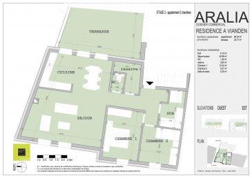 L\'agence immobilière Christine SIMON, vous présente en exclusivité cette nouvelle Résidence ARALIA qui sera implantée sur un terrain dans la Commune de VIANDEN, 95 GRAND-RUE.<br>Début de construction 2020 livraison 2022.<br>Passeport énergétique A-A<br>Construction matériaux haut de gamme.<br><br>Appartement au rez-de-chaussée d\'une chambre de 83.56 m2,<br>Il se compose comme suit:<br>Hall d\'entrée, wc séparé, séjour, cuisine ouverte, chambre à coucher avec son dressing et sa salle de bain attenante.<br>Une cave privative, local technique, local poubelle communs.<br><br>Pour de plus amples renseignements, un rendez-vous ou le cahier de charges et les plans, contactez l\'agence au numéro 26530030 1 ou 621 189 059 ou info@christinesimon.lu<br>