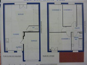 A Piedmont (Mont-Saint-Martin), dans un environnement calme, Nouveau lotissement, proche commodités, Maison jumelée, 1 garage 1 voiture, 2 places de parking, RDC: entrée, cuisine ouverte sur séjour (34.8m²), w-c (1.70m²), ETAGE:  3 chambres(9.60/12.4/12.5m²), SDB avec w-c (6.20m²),  palier (3.30m²),  sur 2.80 ares de terrain. Livraison prévue au 4èmeTrimestre 2022.