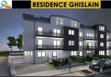 En vente, nouvelle résidence à Rodange en l'état futur d'achèvement.  L'immeuble dispose d'un total de 18 appartements d'une à trois chambres à coucher avec balcon, terrasse, jardin privatif, cave et emplacement pour voiture au sous-sol de l'immeuble.  L'immeuble sera construit avec une exécution et des finitions haut de gamme et disposera d'un ascenseur.  La classe énergétique est NZEB  Livraison prévue pour 2020.