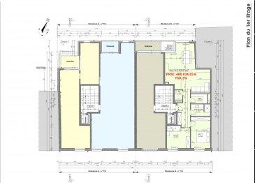 Votre agence IMMO LORENA de Pétange vous propose dans une résidence contemporaine en future construction de 12 unités sur 3 niveaux située à Pétange, 110, route de Luxembourg, un appartement au premier étage de 83,57 m2 décomposé de la façon suivante:  - Hall d'entrée -Double living de 35,98 m2 donnant accès à la terrasse de 3,60 m2 - WC séparé de 1,79 m2 - Débarras de 3,43m2 - Salle de douche de 4,96 m2 - Deux chambres de 11,39 m2 et 13,79 m2  - Une cave privative, un emplacement pour lave-linge et sèche-linge au sous sol. Possibilité d'acquérir un emplacement intérieur (28.840 €)TTC 3%  Cette résidence de performance énergétique AA construite selon les règles de l'art associe une qualité de haut standing à une construction traditionnelle luxembourgeoise, châssis en PVC triple vitrage, ventilation double flux, chauffage au sol, video - parlophone, etc... Avec des pièces de vie aux beaux volumes et lumineuses grâce à de belles baies vitrées.  Ces biens constituent entres autre de par leur situation, un excellent investissement. Le prix comprend les garanties biennales et décennales et une TVA à 3%. Livraison prévue 2023.  1,5% du prix de vente à la charge de la partie venderesse + 17% TVA Pas de frais pour le futur acquéreur   À VOIR ABSOLUMENT!  Pour tout contact: Joanna RICKAL: 621 36 56 40  Vitor Pires: 691 761 110  Kevin Dos Santos: 691 318 013  L'agence Immo Lorena est à votre disposition pour toutes vos recherches ainsi que pour vos transactions LOCATIONS ET VENTES au Luxembourg, en France et en Belgique. Nous sommes également ouverts les samedis de 10h à 19h sans interruption.