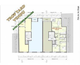 Votre agence IMMO LORENA de Pétange vous propose dans une résidence contemporaine en future construction de 12 unités sur 3 niveaux située à Pétange, 110, route de Luxembourg, un appartement au premier étage de 83,57 m2 décomposé de la façon suivante:  - Hall d'entrée -Double living de 35,98 m2 donnant accès à la terrasse de 3,60 m2 - WC séparé de 1,79 m2 - Débarras de 3,43m2 - Salle de douche de 4,96 m2 - Deux chambres de 11,39 m2 et 13,79 m2  - Une cave privative, un emplacement pour lave-linge et sèche-linge au sous sol. Possibilité d'acquérir un emplacement intérieur (28.840 €)TTC 3%  Cette résidence de performance énergétique AB construite selon les règles de l'art associe une qualité de haut standing à une construction traditionnelle luxembourgeoise, châssis en PVC triple vitrage, ventilation double flux, radiateurs, video - parlophone, etc... Avec des pièces de vie aux beaux volumes et lumineuses grâce à de belles baies  Ces biens constituent entres autre de par leur situation, un excellent investissement. Le prix comprend les garanties biennales et décennales et une TVA à 3%. Livraison prévue 2023.  1,5% du prix de vente à la charge de la partie venderesse + 17% TVA Pas de frais pour le futur acquéreur   À VOIR ABSOLUMENT!  Pour tout contact: Joanna RICKAL: 621 36 56 40  Vitor Pires: 691 761 110  Kevin Dos Santos: 691 318 013  L'agence Immo Lorena est à votre disposition pour toutes vos recherches ainsi que pour vos transactions LOCATIONS ET VENTES au Luxembourg, en France et en Belgique. Nous sommes également ouverts les samedis de 10h à 19h sans interruption.