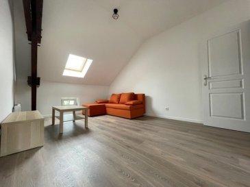 Appartement 2 pièces  meublé, entièrement rénové, situé au 2e et dernier étage d'une maison de 3 appartements, comprenant : une cuisine équipée ouverte sur séjour / salon, (surface au sol : 32 m2 dont 25 m2 loi Carrez) une salle d'eau avec wc, une chambre, un cellier, une terrasse   Surface habitable: 41.12m² surface au sol 52.88 m²  Chauffage électrique  Parking gratuit à proximité  Loyer : 630 euros Charges : 30 euros Dépôt de garantie : 1 260 euros  Honoraires: 451 euros dont 123 euros d'état des lieux  Renseignements: 07 61 27 50 82 / 06 19 98 21 23  Cette annonce a été rédigée sous la responsabilité de Mme GUERY Pascale, agent  commercial mandataire de l'agence AS IMMOBILIER,  inscrite au R.S.A.C. de Thionville (57100) sous le numéro 497 893 982