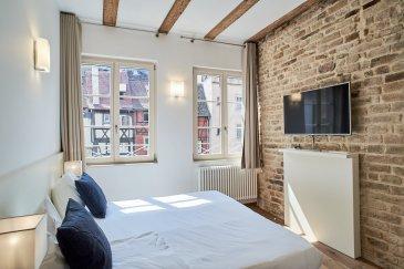 Studio 1 pièce - 18.28 m2 - Strasbourg Hyper Centre Gutember.  **Exclusivité** Dans le centre ville de Strasbourg, à proximité de la place Gutemberg, des quais de Strasbourg, des commerces et des transports, nous proposons à la location un studio meublé, cosy et chaleureux, d\'une surface de 18.28m2 situé au 2ème étage d\'un bel immeuble alsacien. Cet appartement avec des prestations haut de gamme, se compose : d\'une chambre avec poutres apparantes et parquet ancien donnant sur une rue calme. Incluant un bureau, une télévision, et des placards de rangement - d\'un coin cuisine équipée d\'une double plaque de cuisson et d\'un réfrigérateur - d\'un espace de douche avec douche à l\'italienne, vasque et wc. Le chauffage, l\'eau chaude/froide et l\'électricité sont inclus dans les charges. Loyer: 740EUR par mois charges comprises dont 50EUR de provisions pour charges avec régularisation annuelle. Dépot de garantie: 1300EUR Honorairs à la charge du locataire: 237.64EUR TTC dont 54.84EUR TTC inclus pour l\'état des lieux. Disponible immédiatement. HEBDING IMMOBILIER
