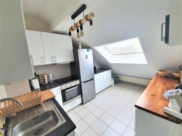 Magnifique appartement entièrement refait avec gouts.<br>( cuisine et salle de bain ont été fait en 2020 )<br><br>Coup de c½ur garantie<br><br>110m2de surface utile et 72m2 habitable<br>Laissez vous sublimer par cette belle  hauteur sous plafond dans la pièce de vie .<br><br> <br>Description:<br><br>- Un hall d\'entrée <br><br>- Un couloir avec armoire de rangement <br><br>- Une grande pièce de vie avec balcon<br><br>- Une cuisine équipée fermée <br><br>- Une grande chambre <br><br>- Un bureau ( 11m2 au sol mais mansardé ) <br><br>- Un WC séparé<br><br>- Une salle de bain avec douche et baignoire neuve<br><br>Annexe : <br><br>- Une grande cave privative 11m2<br><br>- Ascenseur <br><br>- Une cour très sympa commune à l\'immeuble<br><br>Parking à proximité <br>a deux pas de la ville et de la gare ( 3mn )<br><br>Pour convenir d\'une visite ou plus d\'information, merci de contacter : <br><br>Jordan: <br>Tel: 691 129 633<br>E-mail: jordan@efapromo.lu<br><br>Emmanuel : <br>Tel : 691 355 050<br>E-mail : manuefapromo@gmail.com<br>