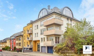Situéà Luxembourg-Bonnevoie, quartier dynamique de Luxembourg, au 3ème et dernier étaged'un immeuble bien entretenu,cetappartement d'une surface habitable de± 73m² se compose commesuit:  Un hall d'entrée ± 4 m² s'ouvrant sur un double séjour ± 25 m² exposé plein sud suivi d'une cuisine séparée ± 6 m², trois chambres de ± 8, 10 et 10 m², une salle de bain avec wc ± 5m² et une salle d'eau ± 3m².  Au sous-sol, un garage ± 15 m² et une buanderie commune complètent la location.   Généralités:  -Appartementsitué au dernier étage avec ascenseur ; -Garagepour une voiture; -2/3 chambres; -Au calme, orienté sud; -Prochedu centre-ville et de ses nombreux commerces et transports en commun.   Agentresponsable du dossier :Sarah Rosenstein E-mail :sarah@vanmaurits.lu Mobile :(+352) 621 160 173