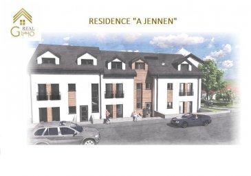 Ensemble résidentiel comportant 12 logements allant de 57 m² à 143 m² répartis comme suit :<br><br>Résidence « A JENNEN » :<br>* 1 appartement d\'une chambre à coucher, <br>* 2 de 2 chambres à coucher,<br>* 3 duplex de 3 chambres à coucher.<br><br>Résidence « AM DUERF » :<br>* 1 appartement d\'une chambre à coucher, <br>* 2 de 2 chambres à coucher,<br>* 3 duplex de 3 chambres à coucher.<br><br>Moutfort, une localité luxembourgeoise faisant partie de la commune de Contern, se situant au milieu d\'une campagne verdoyante et vallonnée permettant aux habitants de profiter du calme que la nature procure.<br><br>Cette résidence est idéalement située à seulement 10 km du Findel (aéroport) et 12 km du Plateau de Kirchberg accueillant les bâtiments des institutions européennes et financières.<br><br>Ces bâtiments de construction traditionnelle Luxembourgeoise, vous offrirons des appartements de haut standing avec des matériaux de grande qualité ce qui permettra de bénéficier d\'une classification énergétique AB. (Chauffage au sol, triple vitrage, volets électriques, ventilation mécanique double flux à récupération de chaleur, isolations thermiques et phoniques).<br><br>A savoir: <br>Ce bien constitue de par sa situation, un excellent investissement.<br><br>Tous les prix annoncés s\'entendent à 3 % TVA, sujets à une autorisation par l\'Administration de l\'Enregistrement et des Domaines.<br><br>Possibilité d\'acquérir un garage ou emplacement intérieur/extérieur. <br><br>Prix inclus la TVA 3%<br>Garage : 32.960.-\' <br>Parking intérieur : 25.750.-\'<br>Parking extérieur : 15.450.-\'<br><br>Nous restons à votre disposition pour une présentation de l\'appartement et du cahier des charges. <br><br>N\'hésitez pas à nous contacter au 28.66.39.1. pour plus d\'information ou d\'un rendez-vous.<br><br />Ref agence :72498