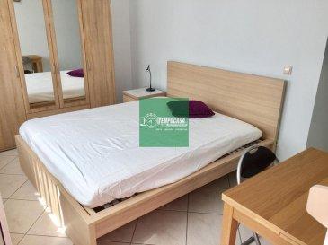 Tempocasa Strassen vous propose cette spacieuse chambre meublé en location. Celle-ci se se situe dans un bel appartement de 3 chambres à coucher, une cuisine indépendante, une salle de douche et une grande terrasse. Deux mois de caution. Pour plus d'informations contactez nous Ref agence :153