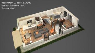 Appartement-Duplex D1 Gauche d'une surface de +ou- 135m2 située au Rez-de-chaussée et 1er étage. Avec une entrée complètement séparée comme dans une maison le duplex comprend un hall d'entrée avec emplacement pour un vestiaire, un Wc séparé, un bureau, un débarras un grand séjour- salle à manger-cuisine ouverte ( non équipée) avec accès sur une grande terrasse et un jardin privatif. A l'étage le duplex dispose de 3 chambres à coucher et une salle de bains. Au sous-sol : une cave privative.  Vous pourrez acquérir un emplacement intérieur au prix de 30.000,00€ ou un emplacement extérieur au prix de 15.000,00€ à 3% de TVA inclus.  Le projet comprend 6 nouvelles résidences à toitures plates de style contemporain dans une rue calme et sans issue dans la ville de Tétange.   Les 6 résidences regroupent 16 logements en tout.  4 Résidences ont chacune  2 appartements et 1 penthouse sur deux niveaux par bâtiment, le sous-sol est commun aux 4 bâtiments. Les 4 résidences comprennent 24 emplacements intérieurs et 2 emplacements extérieurs.   Les 2 autres bâtiments ont 2 duplex chacun avec un sous-sol séparé pour les deux bâtiments qui disposent de 4 caves et de 4 emplacements intérieurs doubles. Les 4 duplex auront des entrées complètement séparés comme dans une maison.  Chaque appartement dispose d'une cave privé.   Les appartements sont spacieux et lumineux disposant de 2 à 3 chambres à coucher avec une voir 2 terrasses par appartements.  Les appartements situés au rez - de - chaussée dispose d'un jardin privé.  Chaque détail a été ici pensé afin de proposer aux futurs occupants un confort de vie optimal.  Des équipements et matériaux haut de gamme sélectionnés avec le plus grand soin, des espaces extérieurs comme des terrasses et jardins privés pour les appartements au rez-de-chaussée et des terrasses avec une vue dégagée pour les biens aux étages supérieurs .