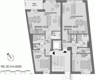 TEL. 691 262 909 Parviz MOLLAIAN REZ-DE-CHAUSSÉE : Appartement (00.01) 1 ch. 64,56m² ; jardin privatif de 46,23m² et cave de 5,92m²