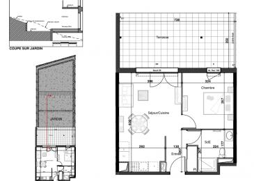 PROGRAMME NEUF A HERSERANGE  Dans un environnement calme, proche commodités  Un appartement T2 de 43.36m² avec 1 place de parking se composant ainsi :  En RDC: entrée (4.03m²), une chambre (11.54m²), Salle d'eau avec w-c (5.69m²), séjour/cuisine (22.10m²), une terrasse (25.43m²) et un jardin (90.3m²)  TVA 5.5% selon revenus  Livraison prévue au 4èmeTrimestre 2023.