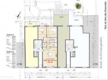 Votre agence IMMO LORENA de Pétange vous propose dans une résidence contemporaine en future construction de 8 unités sur 3 niveaux située à Pétange, 110, route de Luxembourg, un appartement au RDC de 78,59 m2 décomposé de la façon suivante:  - Hall d'entrée -Double living de 33,02. m2 - WC séparé de 2,06 m2 - Débarras de 3,44 m2 - Salle de douche de 4,16 m2 - Deux chambres de 12,41 m2 et 13,57 m2 donnant accès à une magnifique terrasse de 27,15 m2 - Une cave privative, un emplacement pour lave-linge et sèche-linge au sous sol. Possibilité d'acquérir un emplacement intérieur (28.840 €)TTC 3%  Cette résidence de performance énergétique AA construite selon les règles de l'art associe une qualité de haut standing à une construction traditionnelle luxembourgeoise, châssis en PVC triple vitrage, ventilation double flux, chauffage au sol, video - parlophone, etc... Avec des pièces de vie aux beaux volumes et lumineuses grâce à de belles baies vitrées.  Ces biens constituent entres autre de par leur situation, un excellent investissement. Le prix comprend les garanties biennales et décennales et une TVA à 3%. Livraison prévue 2023.  1,5% du prix de vente à la charge de la partie venderesse + 17% TVA Pas de frais pour le futur acquéreur   À VOIR ABSOLUMENT!  Pour tout contact: Joanna RICKAL: 621 36 56 40  Vitor Pires: 691 761 110  Kevin Dos Santos: 691 318 013  L'agence Immo Lorena est à votre disposition pour toutes vos recherches ainsi que pour vos transactions LOCATIONS ET VENTES au Luxembourg, en France et en Belgique. Nous sommes également ouverts les samedis de 10h à 19h sans interruption.
