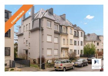 ***SOUS COMPROMIS*** ***SOUS COMPROMIS*** ***SOUS COMPROMIS***  Situé dans un quartier calme à Luxembourg-Belair, proche de tous services: transports en commun, crèches et écoles, cet appartement duplex avec jardin, garage et balcon dispose d'une surface habitable de ± 104 m². Il occupe les 2ème et 3ème étages d'une petite copropriété et se compose comme suit:  Au deuxième étage : un hall d'entrée de ± 5 m² dessert un salon-séjour de ± 27 m² avec un balcon ± 4 m², une cuisine de ± 13 m² entièrement aménagée (plan de travail, cuisson, four, frigo américain et lave-vaisselle) avec meubles en bois, carrelée en damier rouge et blanc, une chambre de ± 15 m² et une salle d'eau équipée avec WC, lavabo simple vasque, douche et sèche-serviette.  Au troisième étage de l'immeuble : vous trouverez un grand grenier aménagé en une chambre ± 38 m² avec des armoires intégrées. Cette pièce est très lumineuse grâce à sa fenêtre de toit (velux). L'étage se compose également d'une buanderie ± 3 m² (avec wc et lavabo) ainsi que d'un débarras de surface identique.  Au sous-sol, vous trouverez un garage de ± 15 m² ainsi que d'une cave de ± 5 m².  A l'extérieur, un jardin privatif, orientation Ouest complète l'offre.  Détails complémentaires:  - Vue dégagée ; - Immeuble libre de 3 cotés; - Double vitrage, fenêtres en châssis PVC ; - Crèches (Babillou, Gan Raphaël) et Ecoles (Nina&Elsa) à proximité directe ; - Gare de Luxembourg, aéroport FINDEL, connexions autoroutières ; - Arrêt de bus Merl Kiirfecht ; - Centre hospitalier à proximité ; - Situation recherchée, quartier résidentiel calme et agréable en pleine    capitale de Luxembourg ; - Installations sportives (stade Prince Jean) ;  Agent responsable du dossier : Geoffrey DEPRE E-mail : geoffrey@vanmaurits.lu Mobile : +352 661 127 777