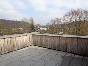 Spacieux appartement récent à louer dans le village de Boevange-sur-Attert.  - hall d'entrée - grand séjour / salle à manger avec coin cuisine équipée - wc séparé - salle de douche - 2 chambres à coucher - cave de 9m² avec connexion lave-linge - 1 double garage.  Grande terrasse.