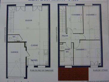 A Piedmont (Mont-Saint-Martin), dans un environnement calme, Nouveau lotissement, proche commodités, Maison jumelée, 1 garage 1 voiture, 2 places de parking, RDC: entrée, cuisine ouverte sur séjour (37.40m²), w-c (1.70m²), ETAGE:  3 chambres(10.10/12.5/13.5m²), SDB avec w-c (6.20m²),  palier (4m²),  sur 2.84 ares de terrain. Livraison prévue au 4èmeTrimestre 2022.