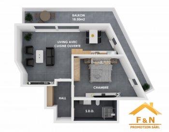 APPARTEMENT NEUF, 1 CHAMBRE  Bel appartement dans une résidence à 5 unités, situé dans une rue très calme, offrant des prestations de très haut standing, une architecture moderne, situé au 1' étage avec une surface habitable d'environ 50m2 + un balcon de 18.5m2. (surface utilisable: 68.5m2)  L'appartement se compose d'une hall d'entrée, living très lumineux avec une cuisine ouverte, avec accès sur le balcon (+/-18.50m2), une chambre à coucher, une salle de douche / bain et une cave.  Caractéristiques: Classe énergétique AAA, Fenêtres triple vitrage, volets électriques, VMC double-flux, isolation phonique, chauffage au sol, carrelages et/ou parquet, sanitaire et autres finitions sont au choix du client. Transport publics : Arrêt de bus à moins d'1min, Accès autoroute A13: +/- 3km / 5min Disponibilité : 2 semestre 2021.  Emplacement de parking intérieur en supplément à partir de 25'000 €.  Les prix annoncés comprennent la TVA 3%.  Pour toutes autres informations, n'hésitez pas à nous contacter ! E-Mail : info@fn-promotion.lu GSM : +352 621 139 988  ------ NEUE WOHNUNG MIT 1. SCHLAFZIMMER  Schöne, kompakte Wohnung in einer Residenz von 5 Einheiten, auf dem 1. Stockwerk, in einer sehr ruhigen Straße liegend. Angeboten wird ein sehr hoher Standard und eine moderne Architektur, mit einer Wohnfläche von +/-50m2, und zusätzlich ein großer Balkon von über +/-18.5m2. (nutzbare Fläche: 68.5m2)  Die Wohnung setzt sich folgend zusammen: Geräumiges Wohnzimmer mit offener Küche und Zugang zum Balkon (+/-18.56m2), ein Schlafzimmer, sowie auch ein Badezimmer und ein Keller.  Charakteristiken: Energieklasse AAA, Dreifachverglasung, elektrische Rollläden, mechanische Ventilation (VMC double-flux), Schallschutz, Fußbodenheizung, Fliesen und / oder Parkett, Sanitär und andere Finitionen sind ebenfalls nach Wahl des Kunden! Öffentliche Verkehrsmittel: Busstation weniger als 1 Minute entfernt. Autobahnanschluss A13: +/-3km / 5min Verfügbarkeit: 2 Semester 2021  Ein Garagenstellplatz im Ge