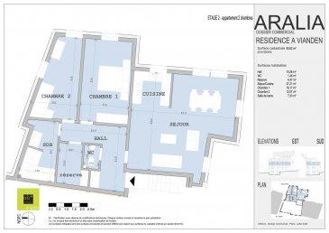 L\'agence immobilière Christine SIMON, vous présente en exclusivité cette nouvelle Résidence ARALIA qui sera implantée sur un terrain dans la Commune de VIANDEN, 95 GRAND-RUE.<br>Début de construction 2020 livraison 2022.<br>Passeport énergétique A-A<br>Construction matériaux haut de gamme.<br><br>Appartement 3 au deuxième étage de deux chambres à coucher et d\'une surface de 90.63 m2,<br>Il se compose comme suit:<br>Hall d\'entrée, wc séparé, séjour, cuisine ouverte, 2 chambres à coucher, salle de bain, débarras.<br>Une cave et un grenier d\'env. 29 m2 privatif, local technique, local poubelle communs.<br><br>Pour de plus amples renseignements, un rendez-vous ou le cahier de charges et les plans, contactez l\'agence au numéro 26 53 00 30 1 ou 621 189 059 ou info@christinesimon.lu<br>
