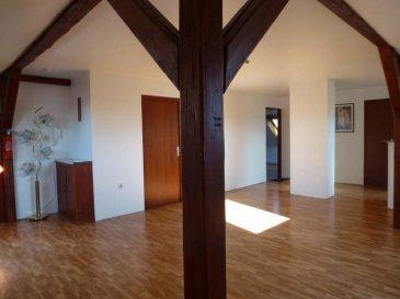 APPARTEMENT T3 STIRING WENDEL - 3 pièce(s) - 65 m2. STIRING WENDEL appartement   T3, de plus de 80m² au sol~Au 2eme et dernier étage d\'une maison de maître, composé de 2 chambres, 1 salle d\'eau, une très grande et lumineuse pièce de vie avec coin cuisine équipée, débarras. ~Chauffage Poêle pellet~<br/>Loyer 450EUR + 85EUR de charges (taxe d\'ordures ménagères, cable tv, forfait elec pour appart et commun)~~<br/>Contact Nord sud Immobilier~Sarreguemines 03 87 02 83 36~Rohrbach les Bitche 03 87 96 33 84