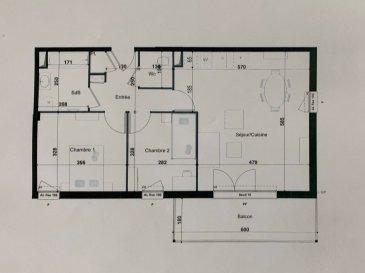 PROGRAMME NEUF A HERSERANGE  Dans un environnement calme, proche commodités  Un appartement T3 de 63.90m² avec une place de parking se composant ainsi :  Au 1ier étage : entrée (5.99m²), 2 chambres (11.96m²/9.23m²), SDB (5.56m²), séjour/cuisine (29.74m²), w-c (2.04m²)  un balcon (10.11m²).  TVA 5.5% selon revenus  Livraison prévue au 4èmeTrimestre 2023.