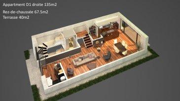Appartement-Duplex D1 Droite d'une surface de +ou- 135m2 située au Rez-de-chaussée et 1er étage. Avec une entrée complètement séparée comme dans une maison le duplex comprend un hall d'entrée avec emplacement pour un vestiaire, un Wc séparé, un bureau, un débarras un grand séjour- salle à manger-cuisine ouverte ( non équipée) avec accès sur une grande terrasse et un jardin privatif. A l'étage le duplex dispose de 3 chambres à coucher et une salle de bains. Au sous-sol : une cave privative.  Vous pourrez acquérir un emplacement intérieur au prix de 30.000,00€ ou un emplacement extérieur au prix de 15.000,00€ à 3% de TVA inclus.  Le projet comprend 6 nouvelles résidences à toitures plates de style contemporain dans une rue calme et sans issue dans la ville de Tétange.   Les 6 résidences regroupent 16 logements en tout.  4 Résidences ont chacune  2 appartements et 1 penthouse sur deux niveaux par bâtiment, le sous-sol est commun aux 4 bâtiments. Les 4 résidences comprennent 24 emplacements intérieurs et 2 emplacements extérieurs.   Les 2 autres bâtiments ont 2 duplex chacun avec un sous-sol séparé pour les deux bâtiments qui disposent de 4 caves et de 4 emplacements intérieurs doubles. Les 4 duplex auront des entrées complètement séparés comme dans une maison.  Chaque appartement dispose d'une cave privé.   Les appartements sont spacieux et lumineux disposant de 2 à 3 chambres à coucher avec une voir 2 terrasses par appartements.  Les appartements situés au rez - de - chaussée dispose d'un jardin privé.  Chaque détail a été ici pensé afin de proposer aux futurs occupants un confort de vie optimal.  Des équipements et matériaux haut de gamme sélectionnés avec le plus grand soin, des espaces extérieurs comme des terrasses et jardins privés pour les appartements au rez-de-chaussée et des terrasses avec une vue dégagée pour les biens aux étages supérieurs .