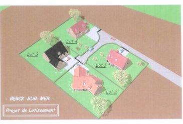 Réf: 5746  Belle parcelle de 654 m²,façade de 27m, au sein d\'un lotissement de 4 lots viabilisés idéalement placée, à 2 pas de l\'hôtel de ville de BERCK/MER. Possiblité de construction de votre maison par le promoteur. Ref: 5746