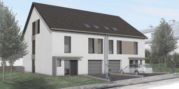 Construction d'une maison jumelée Lot B sur un terrain de 3,96 ares d'une surface de 176m2 habitable, qui se compose comme suit :  sous-sol :  - 3 caves - local techinque  au rez-de-chaussée :  - garage pour 2 voitures - 1 emplacement extérieur - hall d'entée - wc séparé - cuisine ouverte - salon / salle à manger de 34m2 - terrasse de 33m2  1er étage :  - 1 chambre à coucher principale avec dressing et salle de bains intégrée - 3 chambres à coucher - salle de douche / WC  2ième étage :  - hall - 1 chambre à coucher avec salle de douche - grenier 62m2  Les prix de vente sont publiés à 3% TVA.  Pour plus d'informations, veuillez contacter M. Jeff Krier au +352.691.112.993.