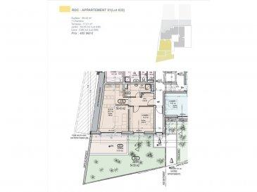 Votre agence IMMO LORENA de Pétange vous propose dans une résidence contemporaine en future construction de 13 unités sur 4 niveaux située à Rodange, 45 chemin de Brouck Appartement 1 chambre, d'une surface habitable de 59,43 m2 se décomposant de la façon suivante :  - Cuisine-salon-salle à manger de 29,41 m2,  - Chambre de 15,21 m2,  - Salle de bain de 6,83 m2 - Un hall d'entrée de 6,44 m2,  - Terrasse de 17,01 m2 - Pelouse privative de 54,55 m2,  - Une cave privative - Un emplacement voiture intérieur (25 000€) AU PRIX DE 405 960€  Cette résidence de performance énergétique AB construite selon les règles de l'art associe une qualité de haut standing à une construction traditionnelle luxembourgeoise, châssis en PVC triple vitrage, ventilation double flux, chauffage au sol, video - parlophone, système domotique, etc... Avec des pièces de vie aux beaux volumes et lumineuses grâce à de belles baies vitrées.  Ces biens constituent entres autre de par leur situation, un excellent investissement. Le prix comprend les garanties biennales et décennales et une TVA à 3%. Livraison prévue septembre 2021.  Pour tout contact: Joanna RICKAL +352 621 36 56 40 Vitor Pires: +352 691 761 110   L'agence Immo Lorena est à votre disposition pour toutes vos recherches ainsi que pour vos transactions LOCATIONS ET VENTES au Luxembourg, en France et en Belgique. Nous sommes également ouverts les samedis de 10h à 19h sans interruption. Demander plus d'informations